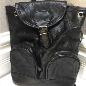 Handbags - Black Genuine Leather Backpack Bag Tote Drawstring